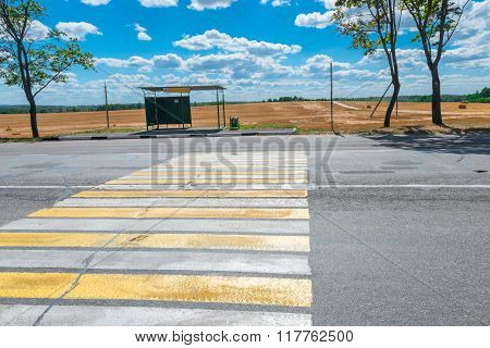 Empty Bus Stop And A Country Highway