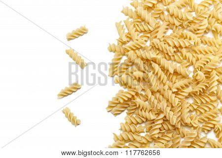 Durum Wheat Fusilli Pasta Group Isolated On White Background