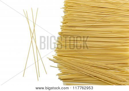 Durum Wheat Spaghetti Pasta Composition On White Background