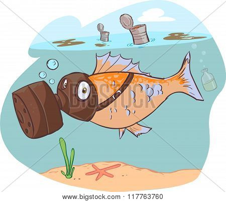 Vector Illustration Of A Dirty Sea And Fish