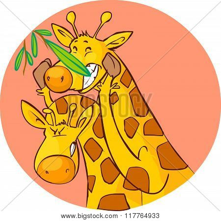 White Background Vector Illustration Of A Cute Giraffe