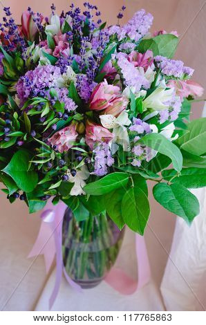 Beautiful romantic spring bouquet of flowers in a vase