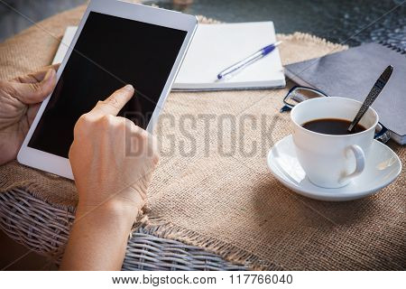 Woman And Tablet Computer In Hand Sliding On Touching Screen Use For People And Lifestyle In Digital