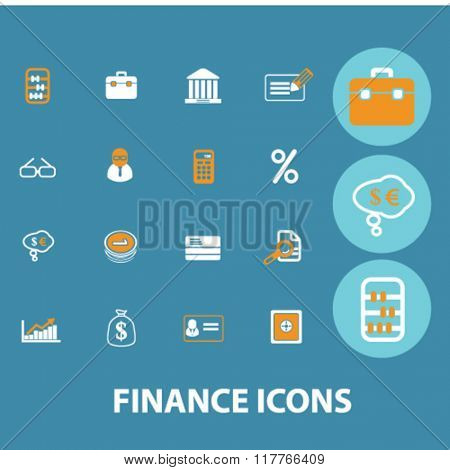 finance icon, finance concept, finance logo, banking, money, investment  icons, signs vector concept set