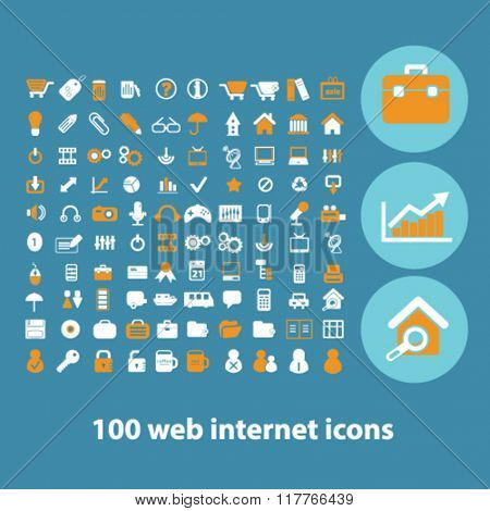 website icons, office icons, internet concept, internet background