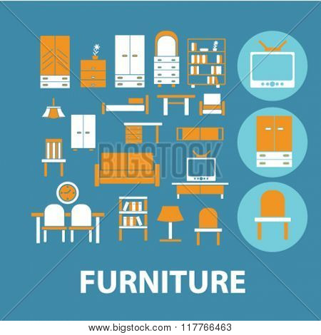 furniture icon, furniture concept, furniture logo, icons, signs vector concept set