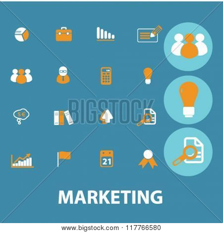 marketing icons, marketing concept, marketing logo, market icon, market vector - set