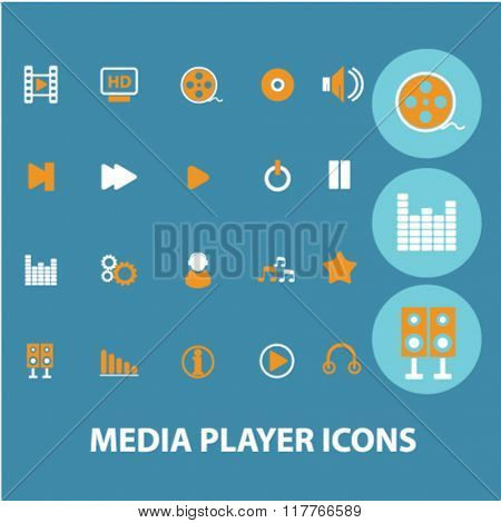 media, audio, video player icons, signs vector concept set