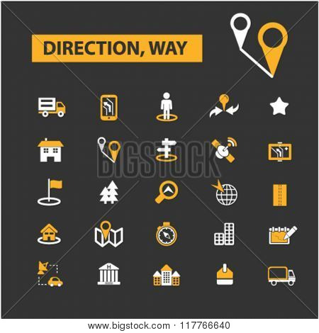 direction, way, map, location, route icons