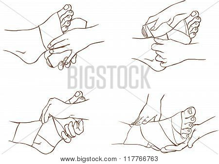 Vector Illustration Of A  Medical Foot Bandage Technique