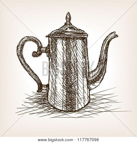 Tea pot vintage hand drawn sketch style vector
