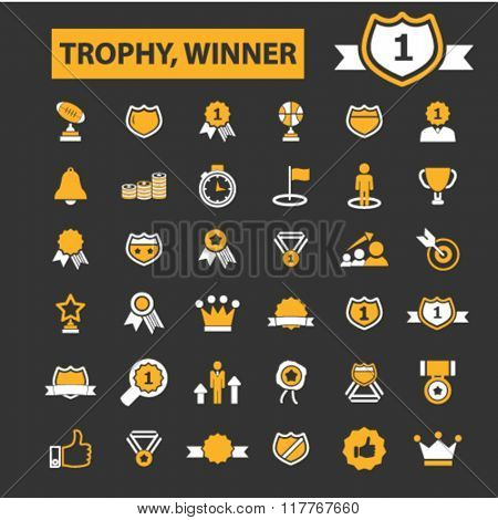 trophy, awards icons, award concept, achievement, award ribbon, trophy, prize icons