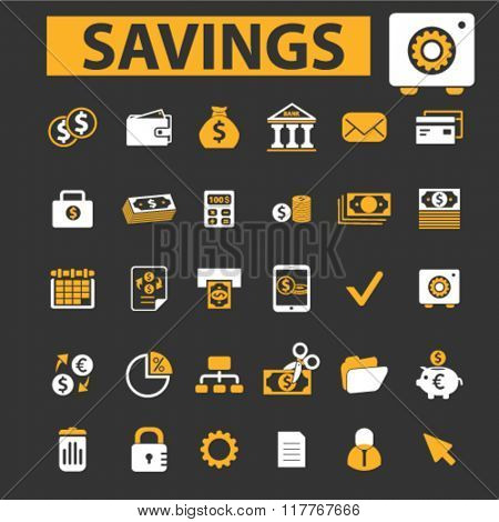 savings icons, personal finance icons