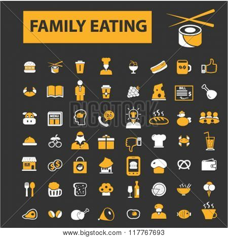 family eating, restaurant, restaurant menu, restaurant dinner icons