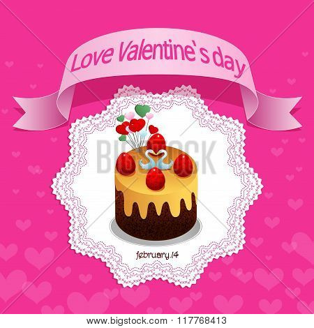 Love Valentines Day, Sweet Chocolate Cake