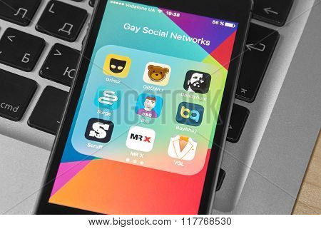 Iphone 5S Screen With Icons Of Gay Social Networks And Chats