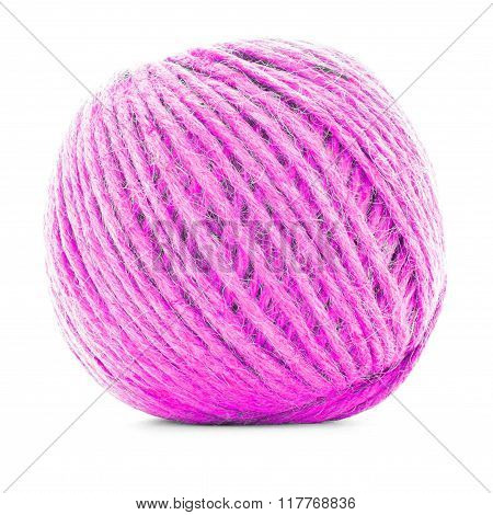 Pink Braided Skein, Knitting Thread Roll Isolated On White Background
