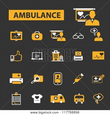 ambulance icons, emergency medicine icons, ambulance car vector