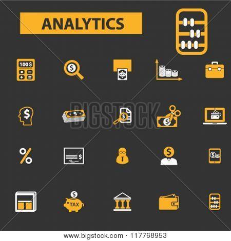 analytics, accounting, finance icons