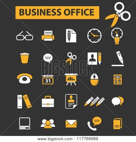 web office, supplies, freelance icons