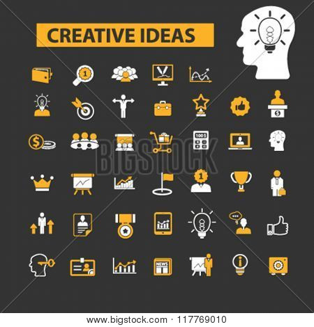 creative ideas, creativity, creative thinking, creative marketing icons