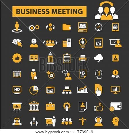 business meeting, community, human resources, management icons
