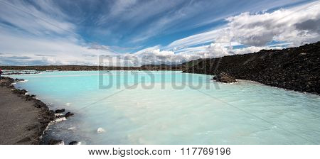 Panoramic view of Geothermal lagoon, south of Iceland ** Note: Visible grain at 100%, best at smaller sizes