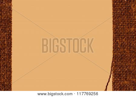 Textile Weft, Fabric Decoration, Ochre Canvas, Obsolete Material, Closeup Background