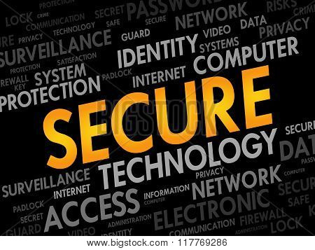 SECURE word cloud business concept, presentation background