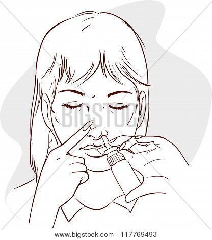 Vector Illustration Of A Women Using Nasal Spray Medication