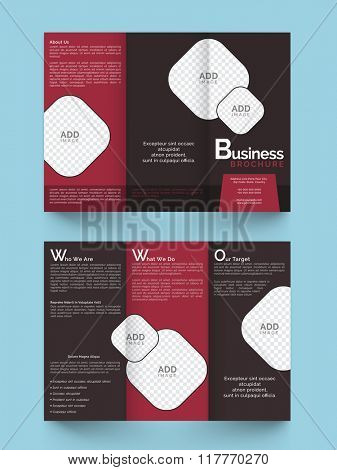 Front and back page view of a creative Business Trifold Brochure, Template or Flyer design with space to add your images.