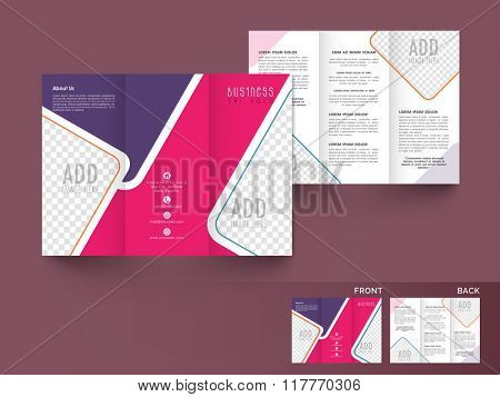 Professional Two Page Trifold Brochure, Template or Flyer design with space to add your images for Business concept.