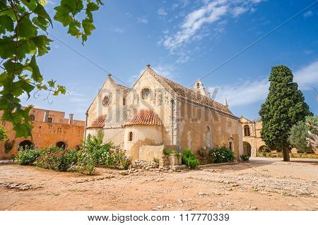 The backyard of the Arkadi Monastery at Crete. Greece. It was built in the 16th century and almost destructed in 1866 by the Ottomans.