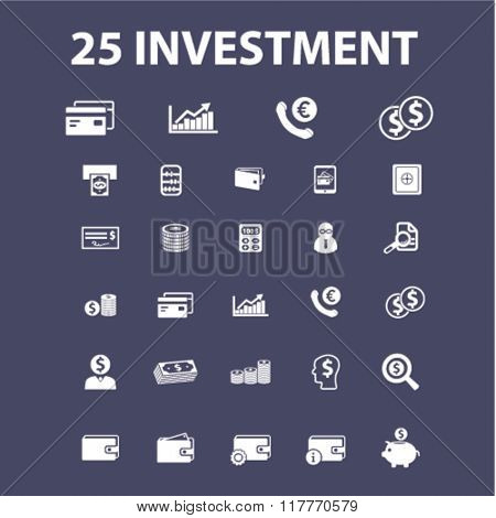 investment, bank, trading, finance, money, check concept icons