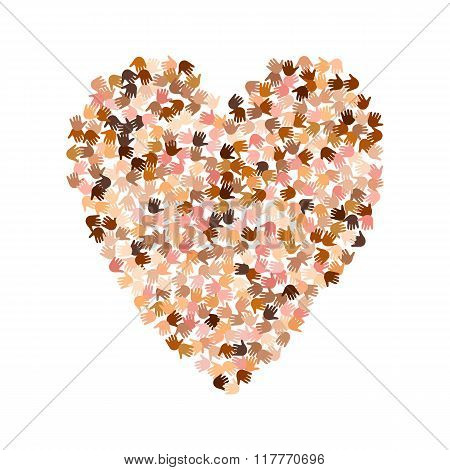 Illustration of big heart shape filled with hearts