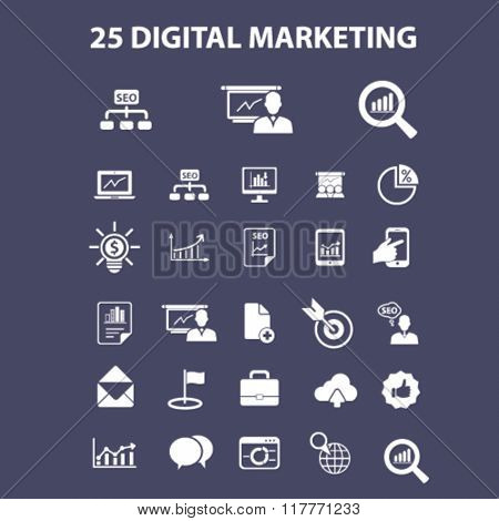 digital marketing, online advertising, video, business strategy icons