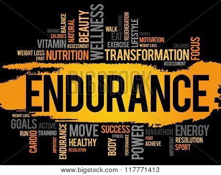 ENDURANCE word cloud fitness sport health concept