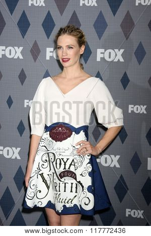 LOS ANGELES - JAN 15:  January Jones at the FOX Winter TCA 2016 All-Star Party at the Langham Huntington Hotel on January 15, 2016 in Pasadena, CA