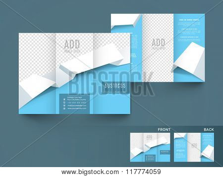 Business Trifold Brochure, Template or Flyer design with image space and front or back page view.