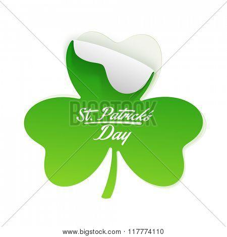 Creative sticky design in shamrock leaf shape on grey background for Happy St. Patrick's Day celebration.
