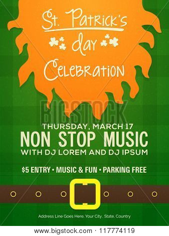 Creative Pamphlet, Banner or Flyer design with Party details for Happy St. Patrick's Day celebration.