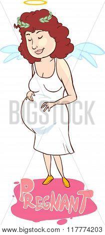 White Backround Vector Illustration Of A  Angel Pregnancy