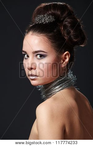 Shocking Beauty Portrait Of Cheeky Young Woman With Wire Necklace.