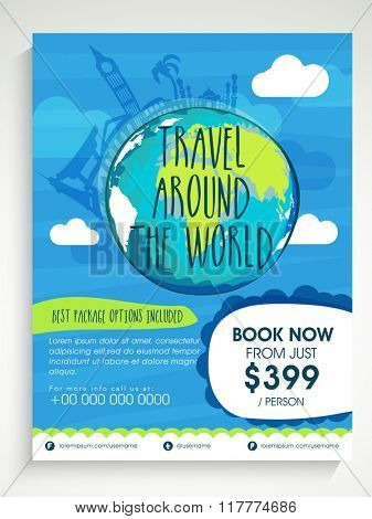 Creative Flyer, Banner or Template design with illustration of globe for Tour and Travelling concept, Around the World.