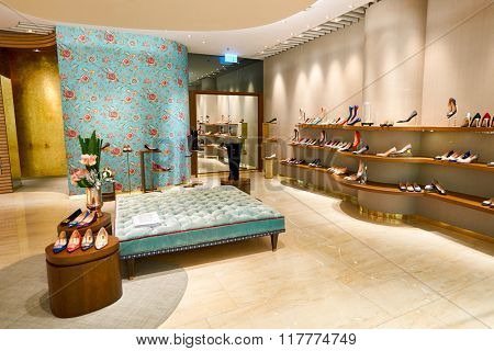 HONG KONG - JANUARY 26, 2016: inside of Rupert Sanderson store at Elements Shopping Mall. Elements is a large shopping mall located on 1 Austin Road West, Tsim Sha Tsui, Kowloon, Hong Kong
