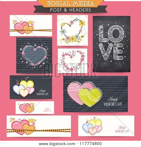 Colorful hearts decorated social media ads, post, headers or banners for Happy Valentine's Day celebration.