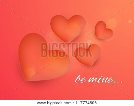 Glossy hearts decorated beautiful shiny greeting card with text Be Mine for Happy Valentine's Day celebration.