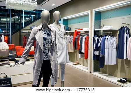 HONG KONG - JANUARY 26, 2016: inside of Boss store at Elements Shopping Mall. Elements is a large shopping mall located on 1 Austin Road West, Tsim Sha Tsui, Kowloon, Hong Kong