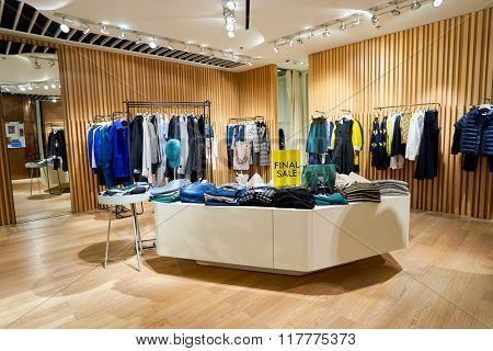 HONG KONG - JANUARY 26, 2016: inside of the store at Elements Shopping Mall. Elements is a large shopping mall located on 1 Austin Road West, Tsim Sha Tsui, Kowloon, Hong Kong
