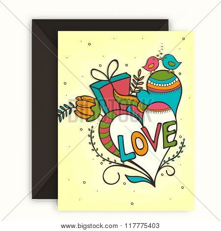 Beautiful greeting card design with colorful hearts and love birds couple for Happy Valentine's Day celebration.
